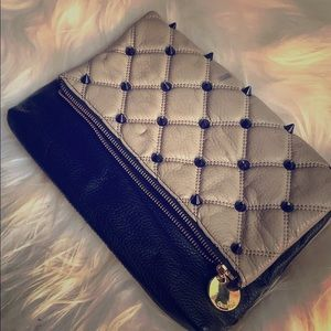 Genuine Leather Studded Clutch